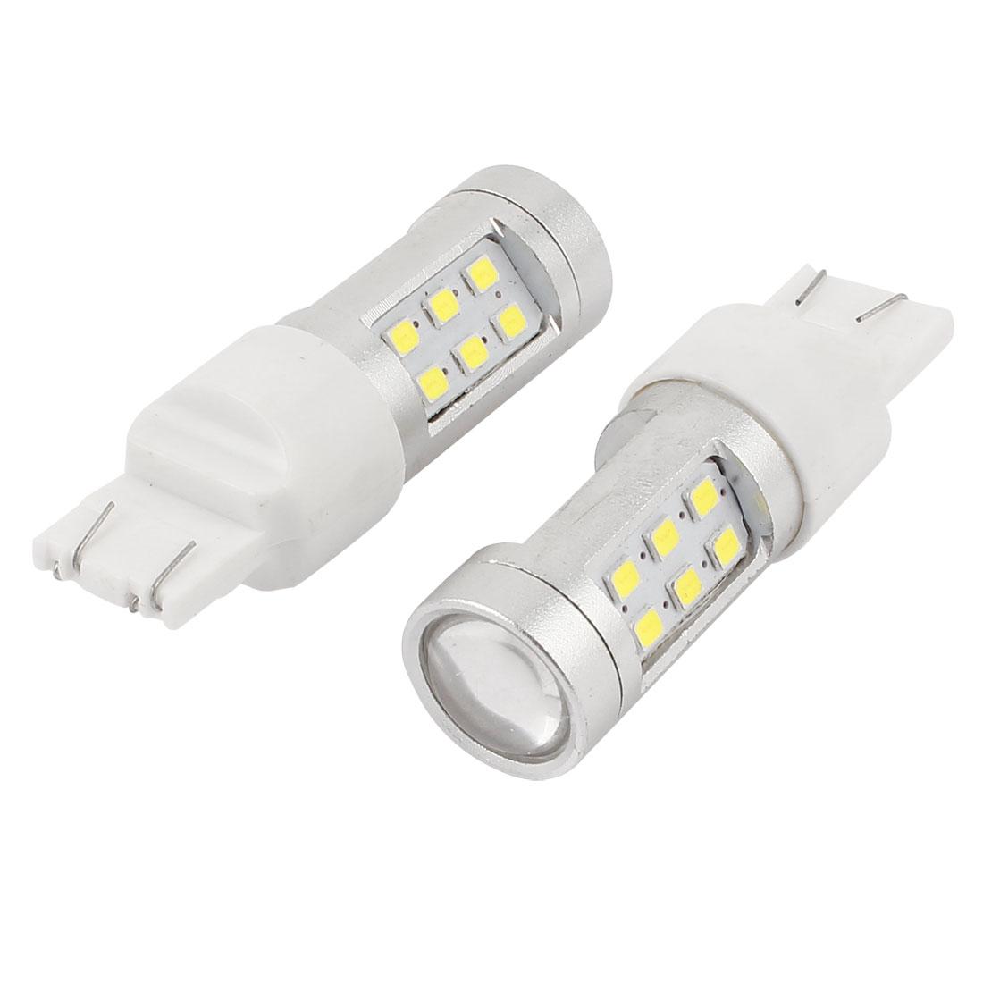 2 Pcs 7443 T20 21 1210 SMD LED Marker Corner Light Signal Lamp White for Car