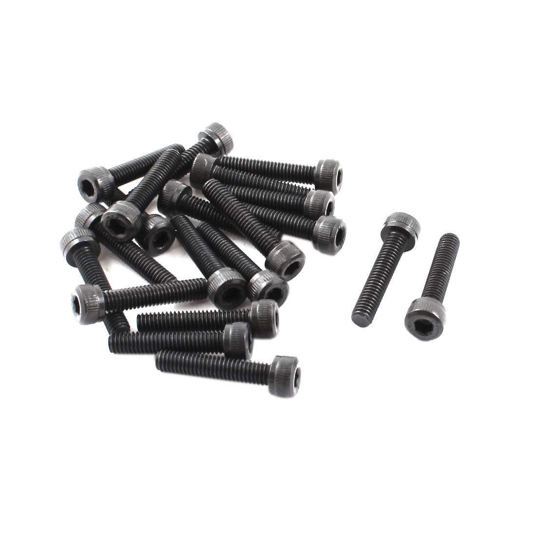 20Pcs Stainless Steel Countersunk Hex Socket Knurled Bolt Screw M4x20mm Black