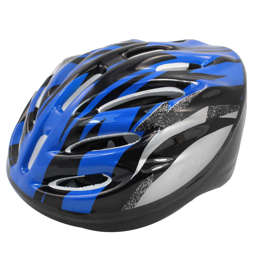 Adult Striped Pattern Blue Black Silver Tone Foam Sports Skating Helmet