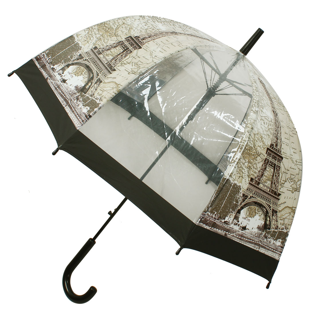Black Hook Handle Eiffel Tower Pattern Umbrella Transparent Beige Gray