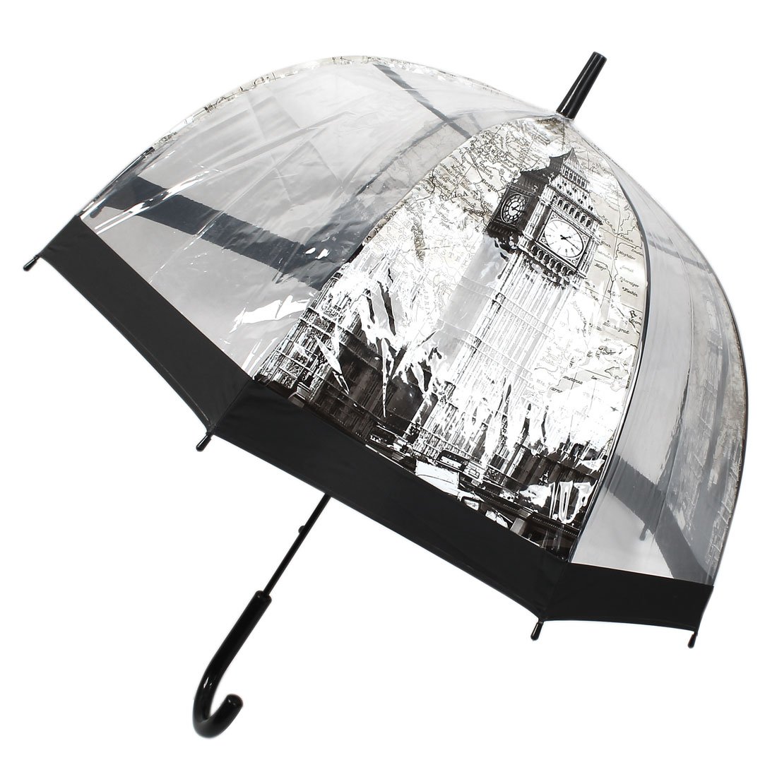 Black Hook Handle London Big Ben Pattern Umbrella Transparent Beige Gray