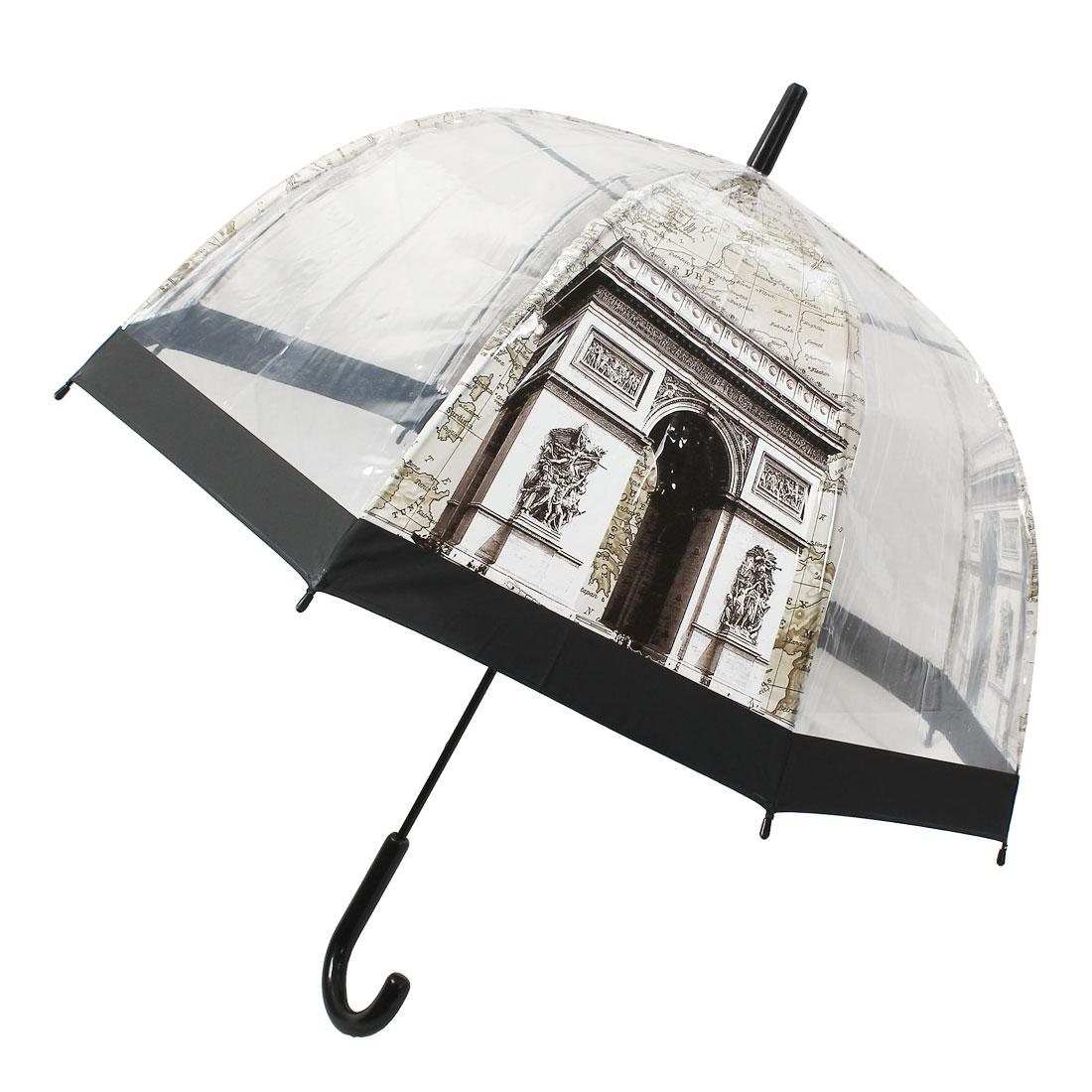 Hooked Handle Transparent Paris Triumphal Arch Pattern Dome Umbrella Beige