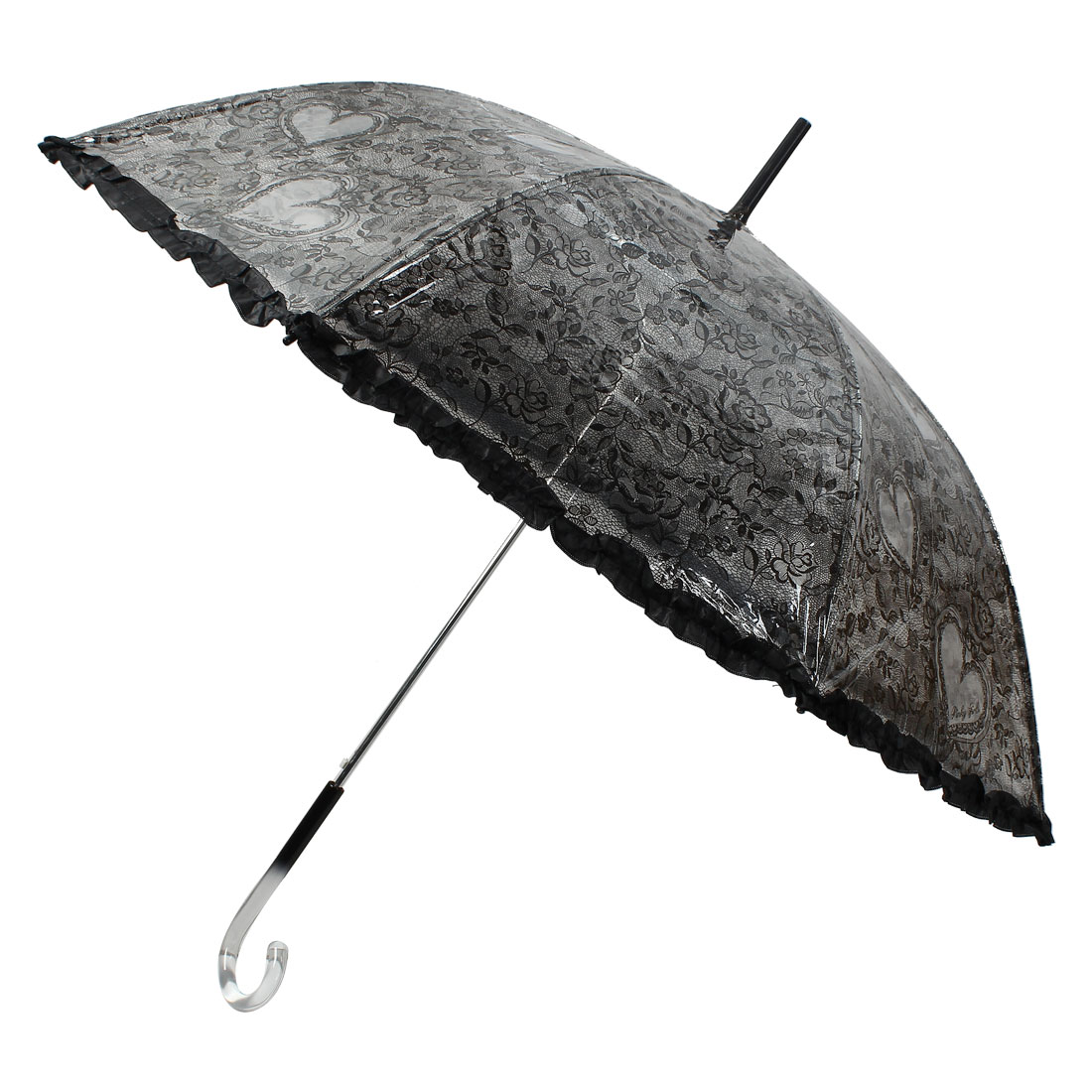 Hooked Handle Floral Heart Printed Lace Brim Umbrella Rain Gear Clear Black