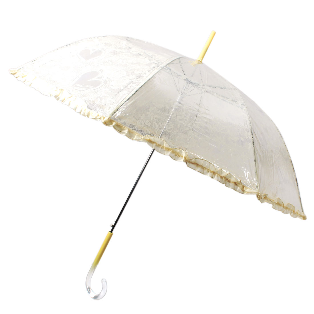 Long Hooked Handle Flower Heart Printed Lace Brim Umbrella Transparent Yellow