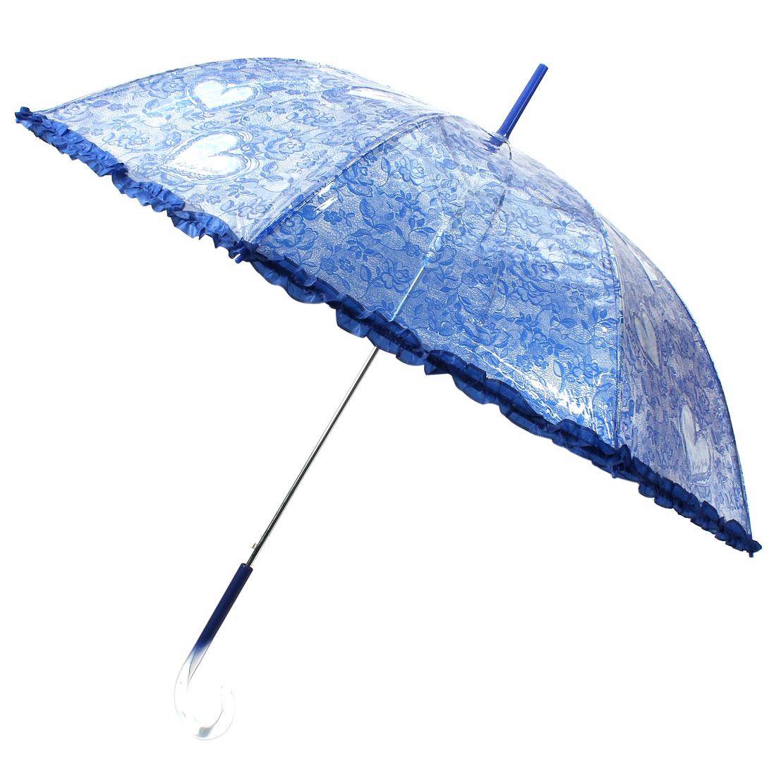 Long Hooked Handle Floral Heart Print Lace Rim Umbrella Transparent Blue