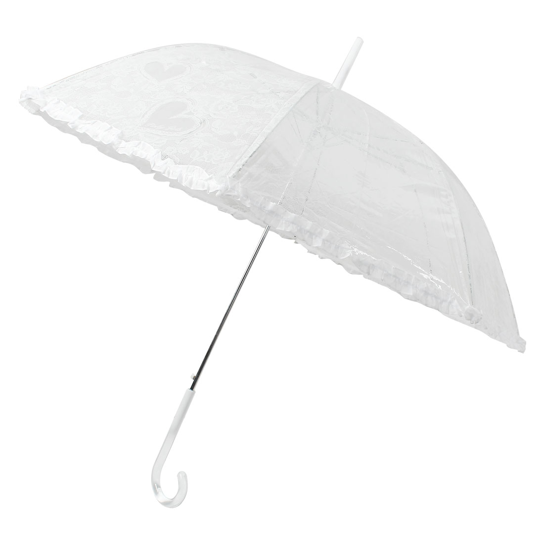 Clear White Walking Stick Crooked Handle Flower Heart Print Lace Rim Umbrella