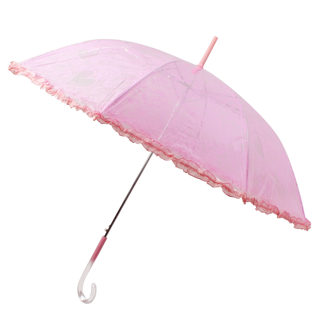 Flower Heart Pattern Walking Stick Curved Handle Clear Pink Lace Brim Umbrella