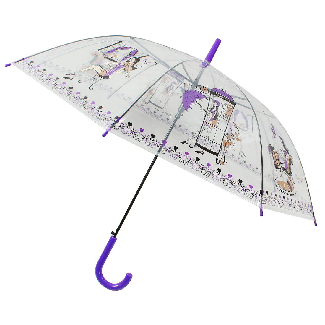 Crooked Handle Automatic Sexy Lady Pattern Umbrella Clear Purple Black