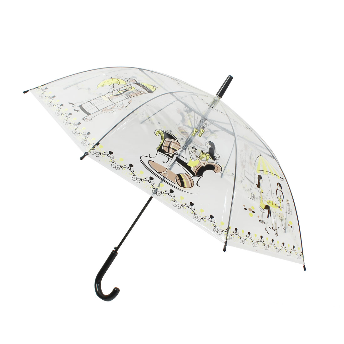 Sexy Ladies Print Hooked Handle Umbrella Rain Gear Clear Yellow Black