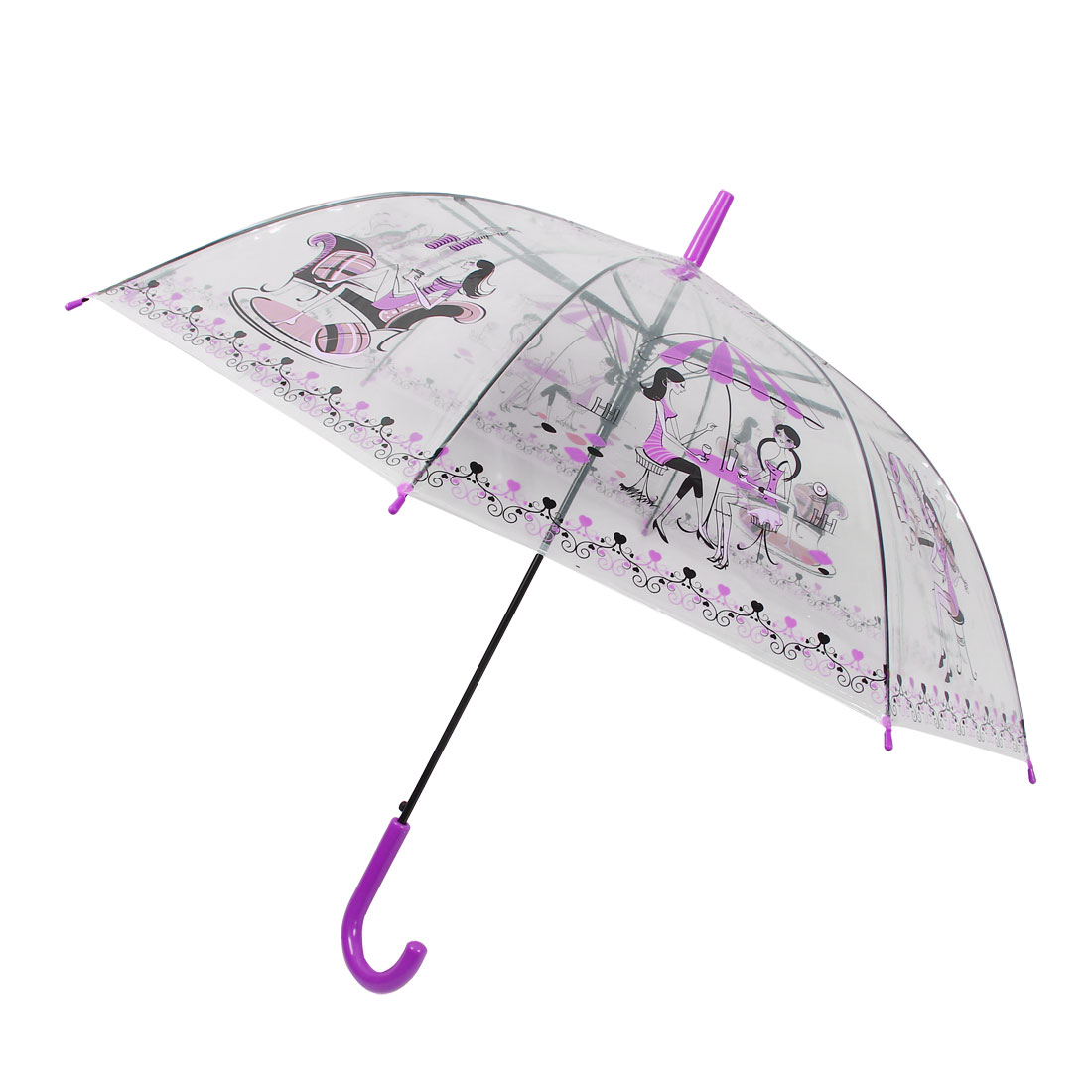 Sexy Lady Printed Hooked Handle Umbrella Rain Gear Fuchsia Clear Black