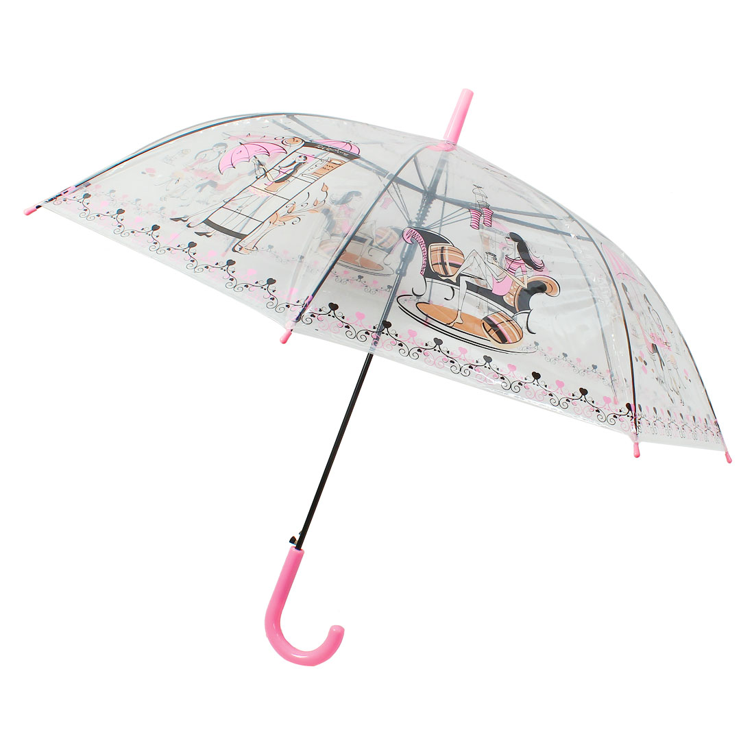 Hooked Handle Sexy Lady Pattern PVC Rain Umbrella Clear Pink Black