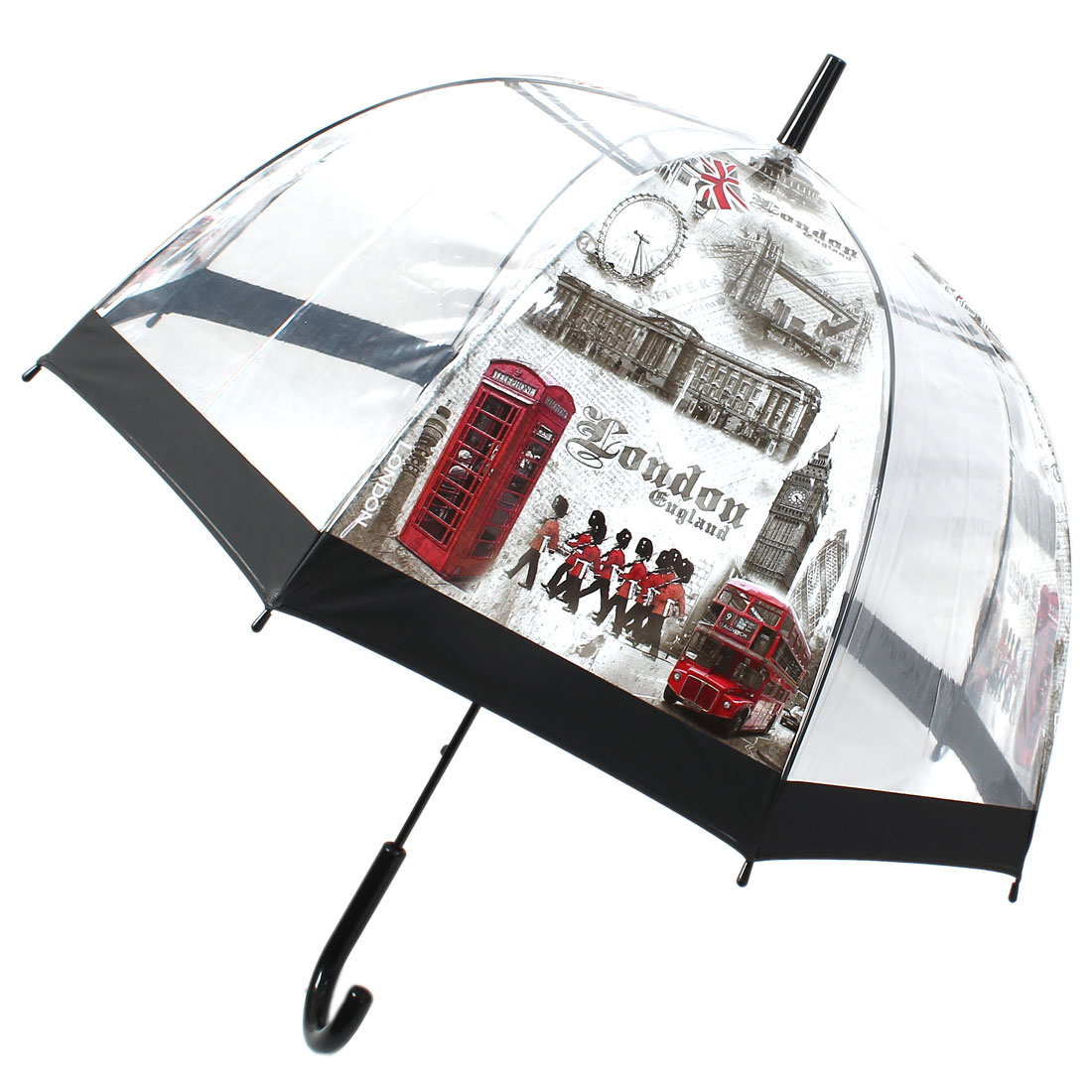 Hooked Handle Cool London Street Pattern Dome Sun Umbrella Clear White Gray