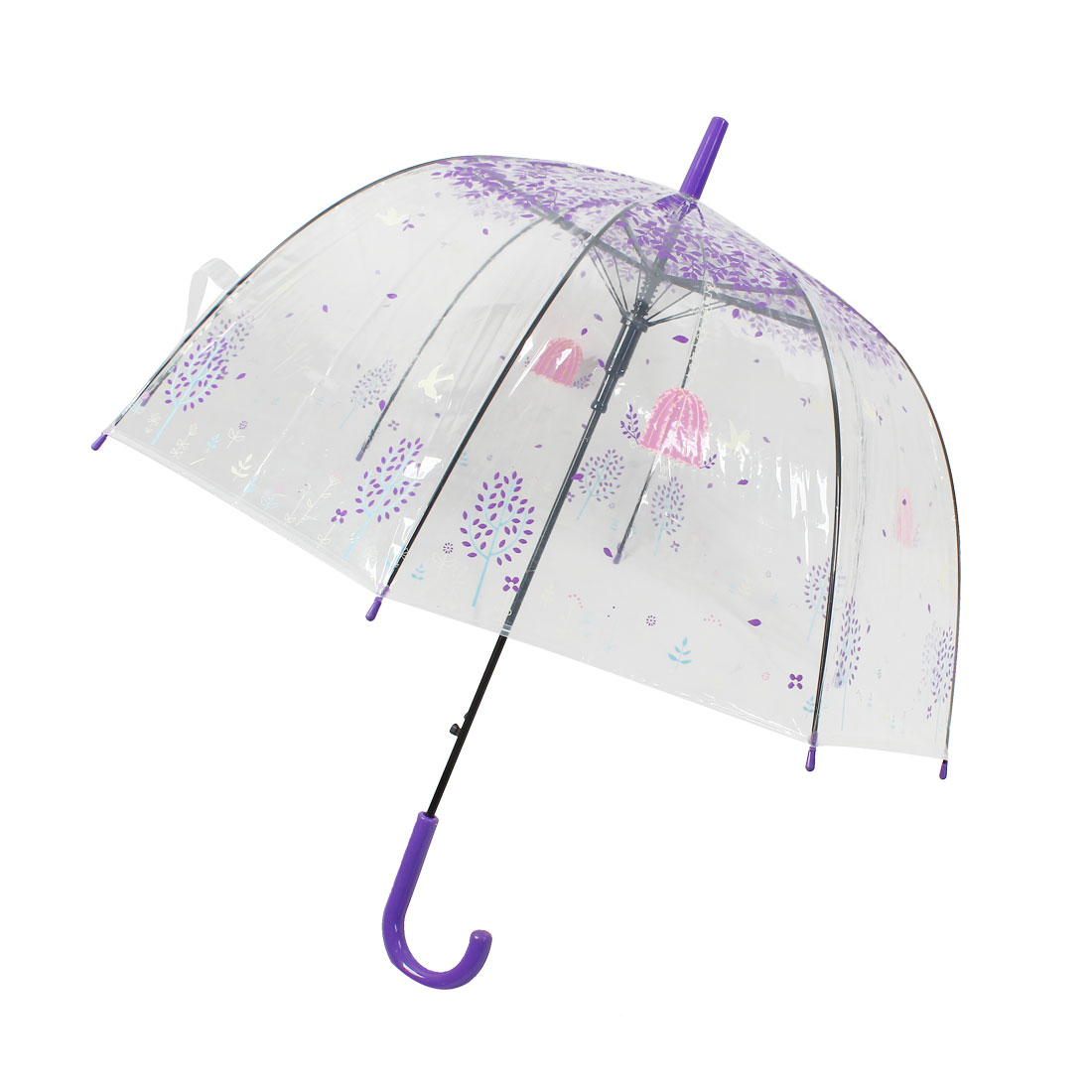 Hooked Handle Bird Leaves Pattern Sun Rain Umbrella Purple Pink Clear