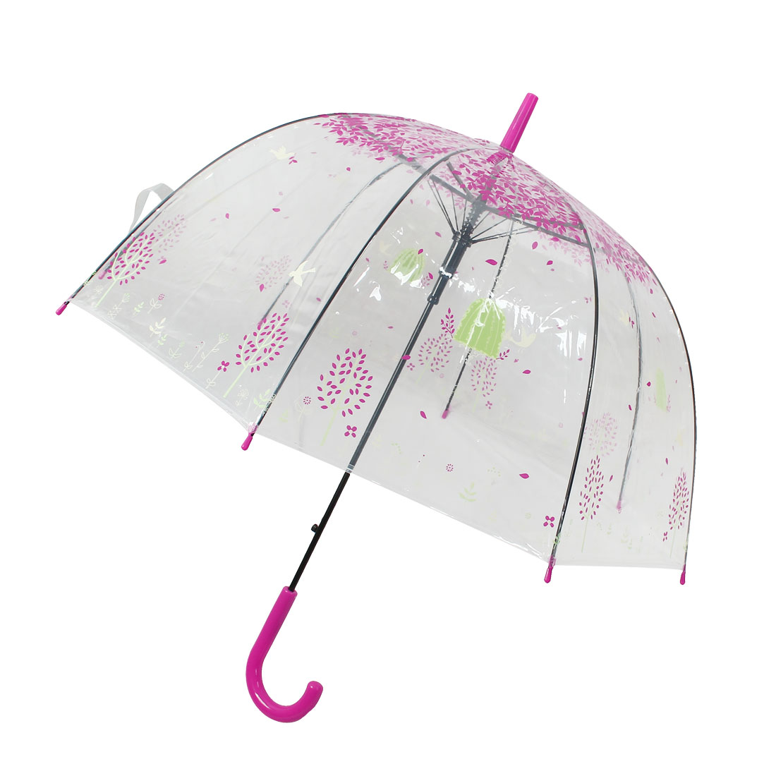 Leaves Birds Pattern Umbrella Rain Gear Hooked Handle Fuchsia Clear