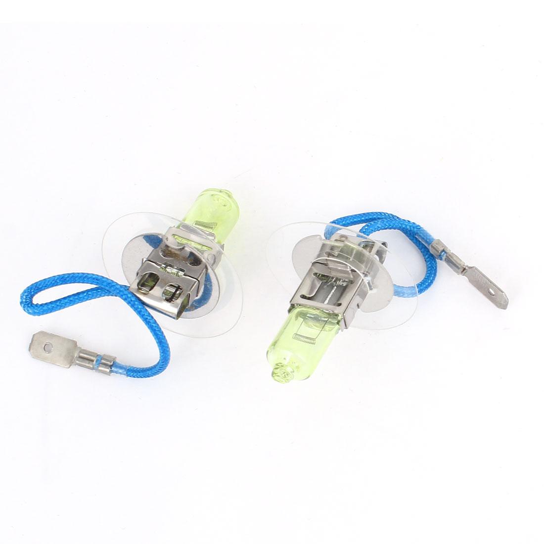 2 Pcs 12V 100W H3 Amber Car DRL Foglight Light Head Spare Bulb Lamp