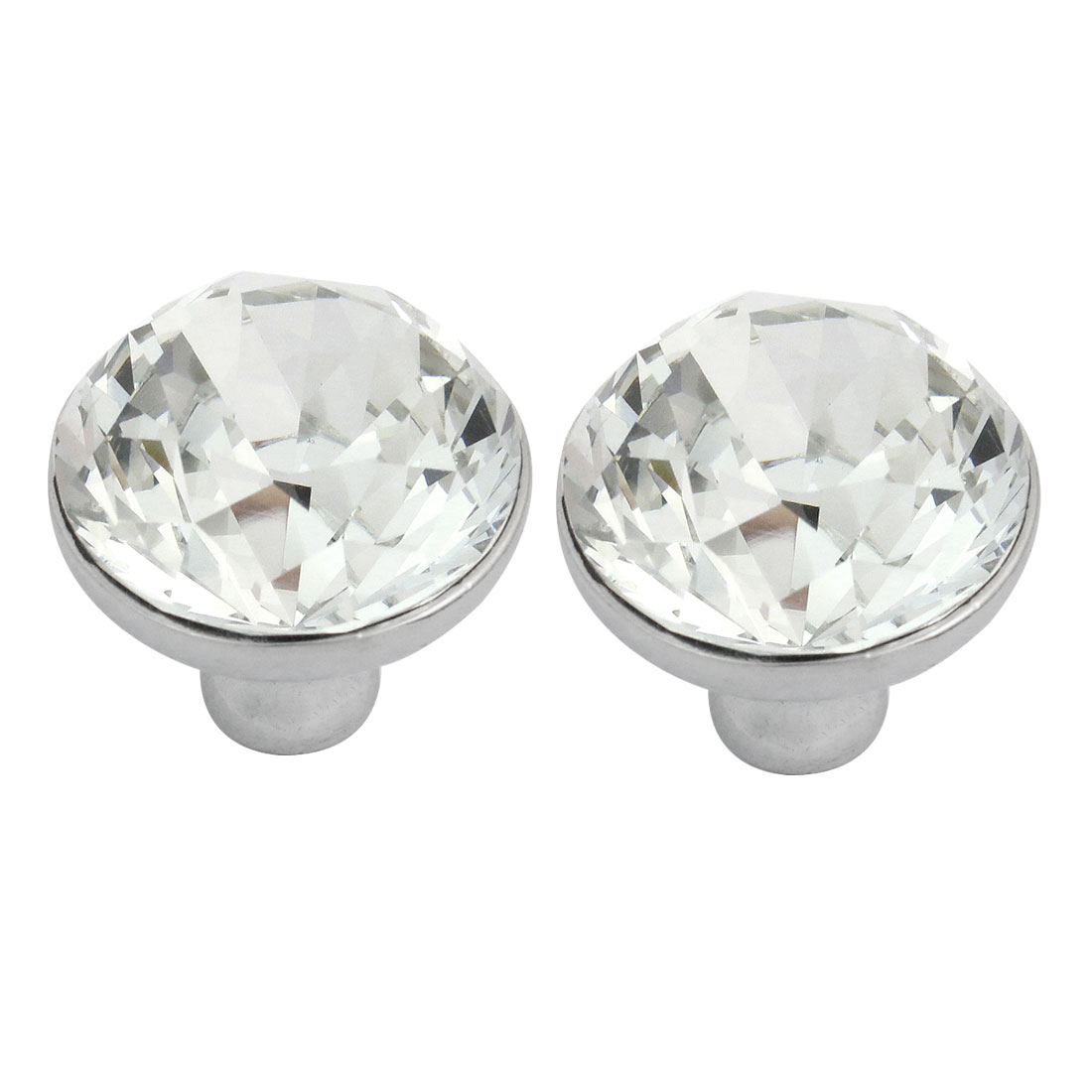 2 Pcs 30mm Bling Plastic Crystal Cabinet Drawer Door Round Knob Pull Handle