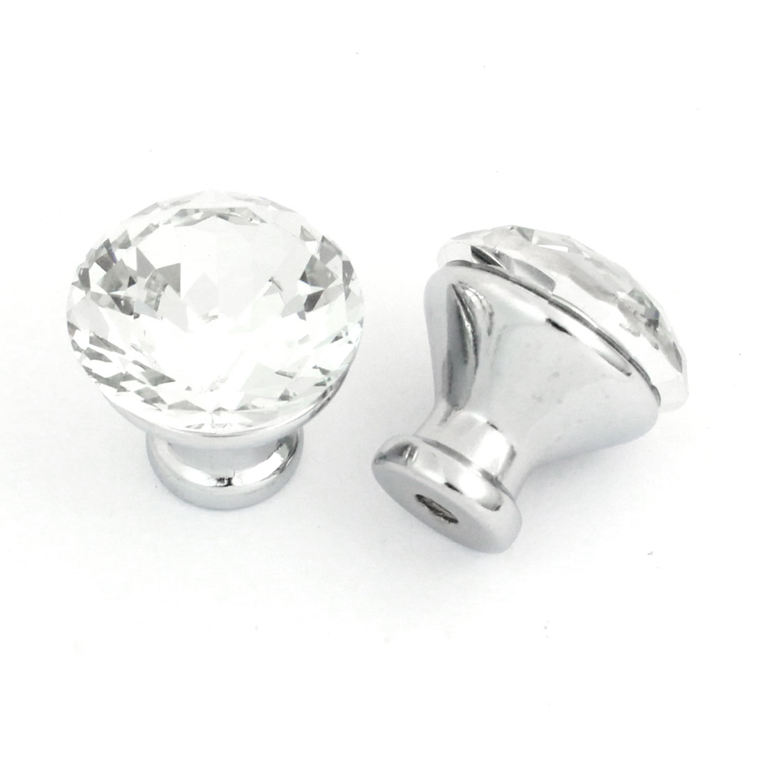 2pcs 30mm Clear Bling Plastic Crystal Cabinet Cupboard Dresser Drawer Door Round Shaped Pull Knob Handle