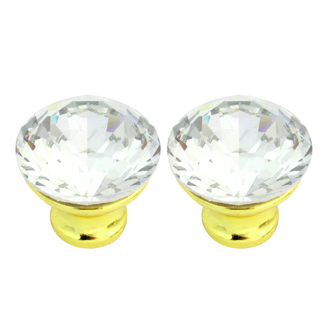 2pcs 30mm Sparkle Plastic Crystal Cabinet Wardrobe Door Knob Pull Handle
