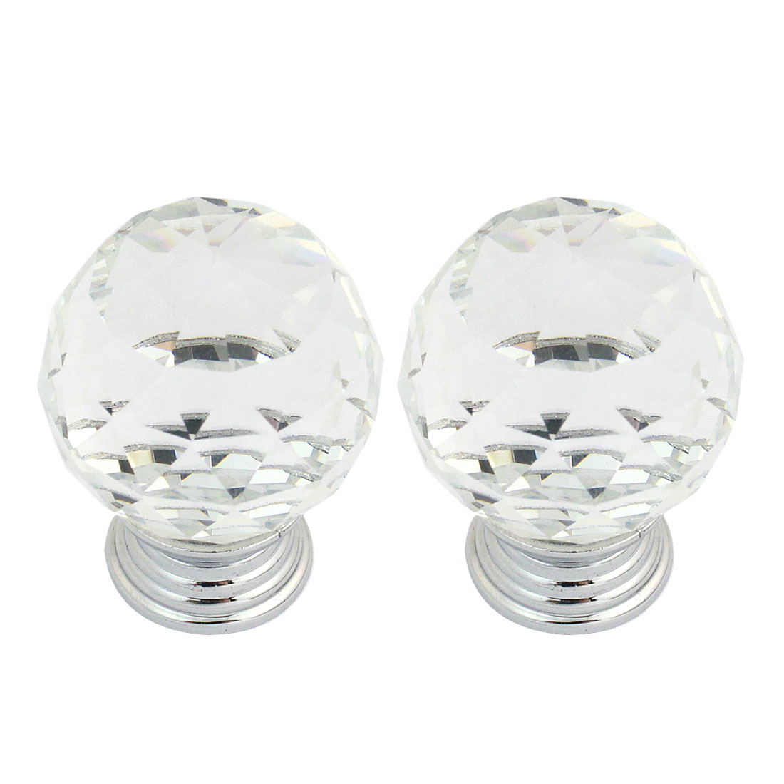 3cm Plastic Crystal Handle Cabinet Cupboard Drawer Door Pull Ball Knob 2 Pcs