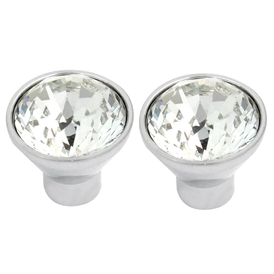 2pcs 25mm Sparkle Plastic Crystal Cabinet Drawer Door Round Knob Pull Handle