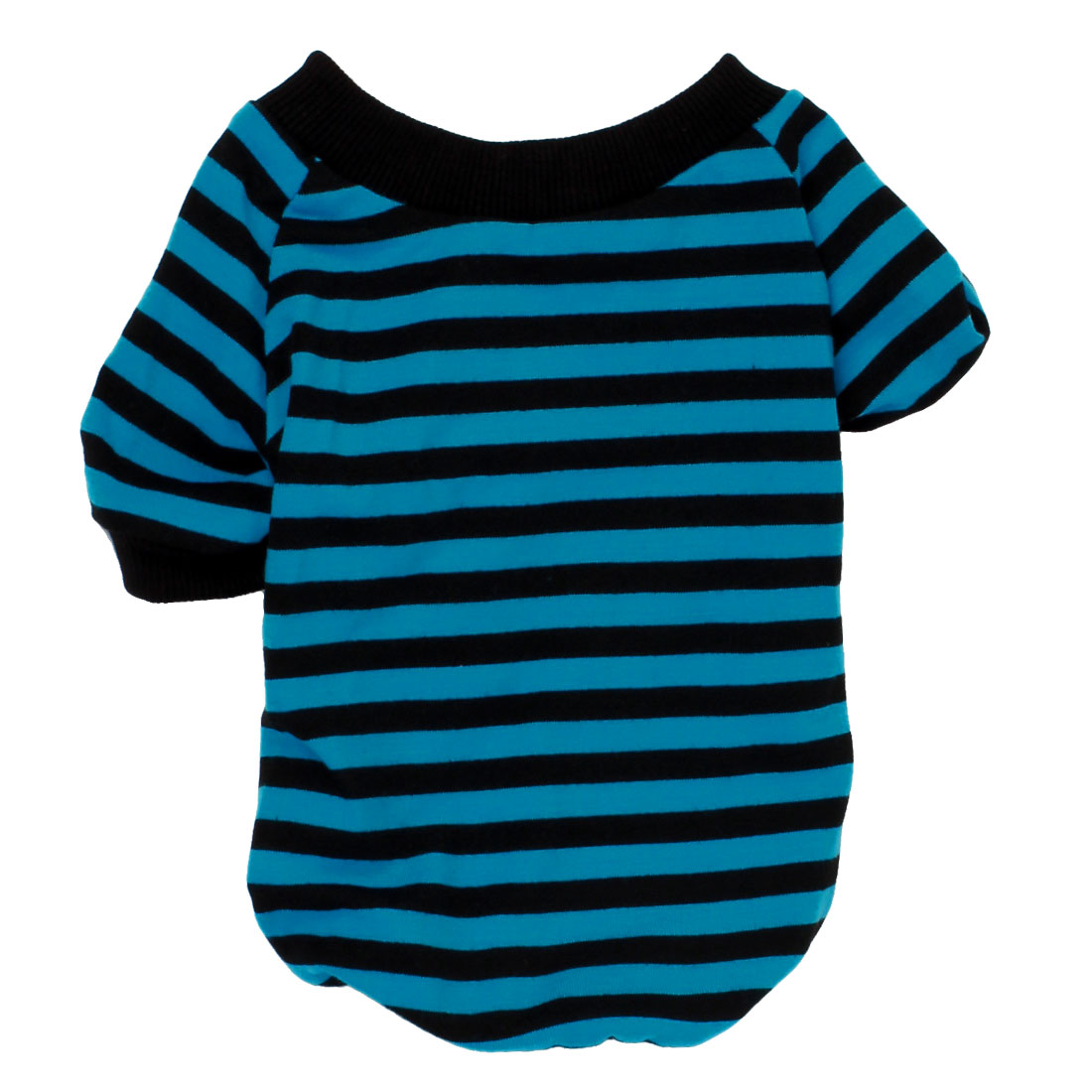 Pet Dog Chihuahua Stripe Pattern Sleeved Stretchy Apparel Coat Tee Shirt Black Blue Size XS