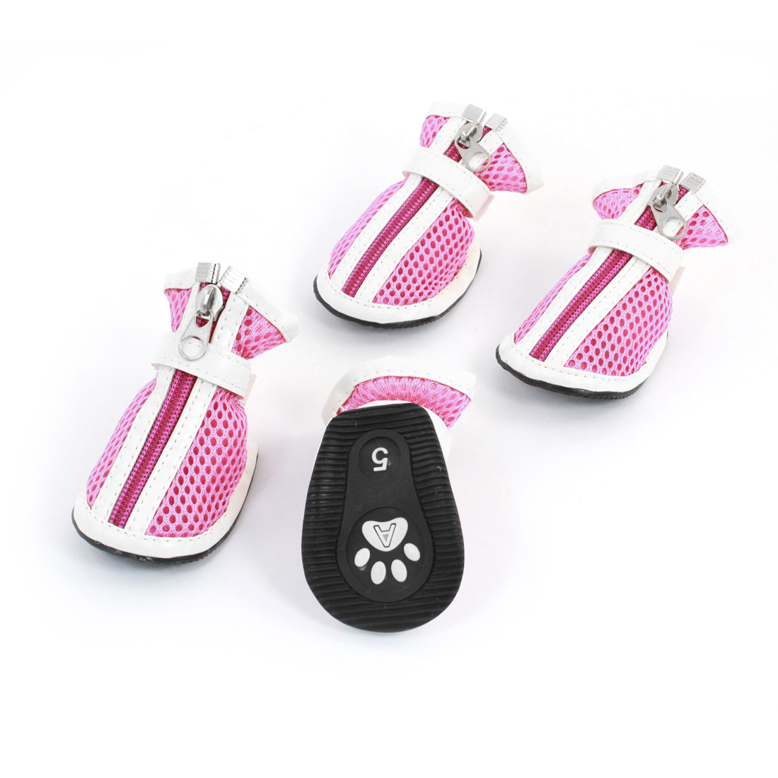 2 Pair Pet Dog Doggy Hook Loop Fastener Zip Closure Mesh Style Shoes Boots Booties Pink White Size XS