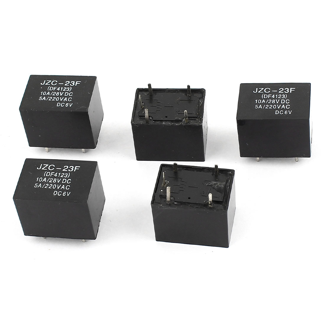 5 Pcs JZC-23F 5Pin SPDT General Purpose Power Electromagnetic Relay Coil Voltage DC 6V