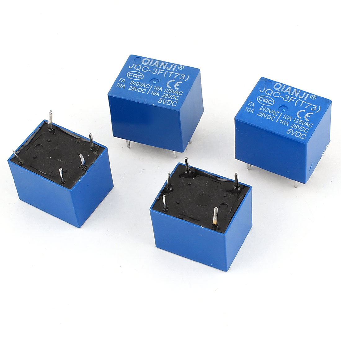 4 Pcs JQC-3F(T73) 5Pin SPST Power Relay 5V Coil DC 28V AC 125V 240V Load