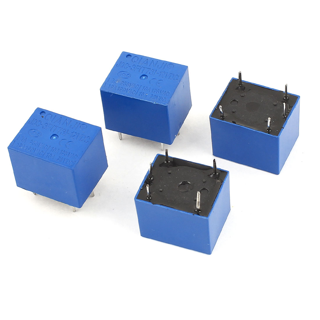 4 Pcs JQC-3F(T73) 5Pin SPST Power Relay DC 12V Coil 28V AC 125V 250V Load