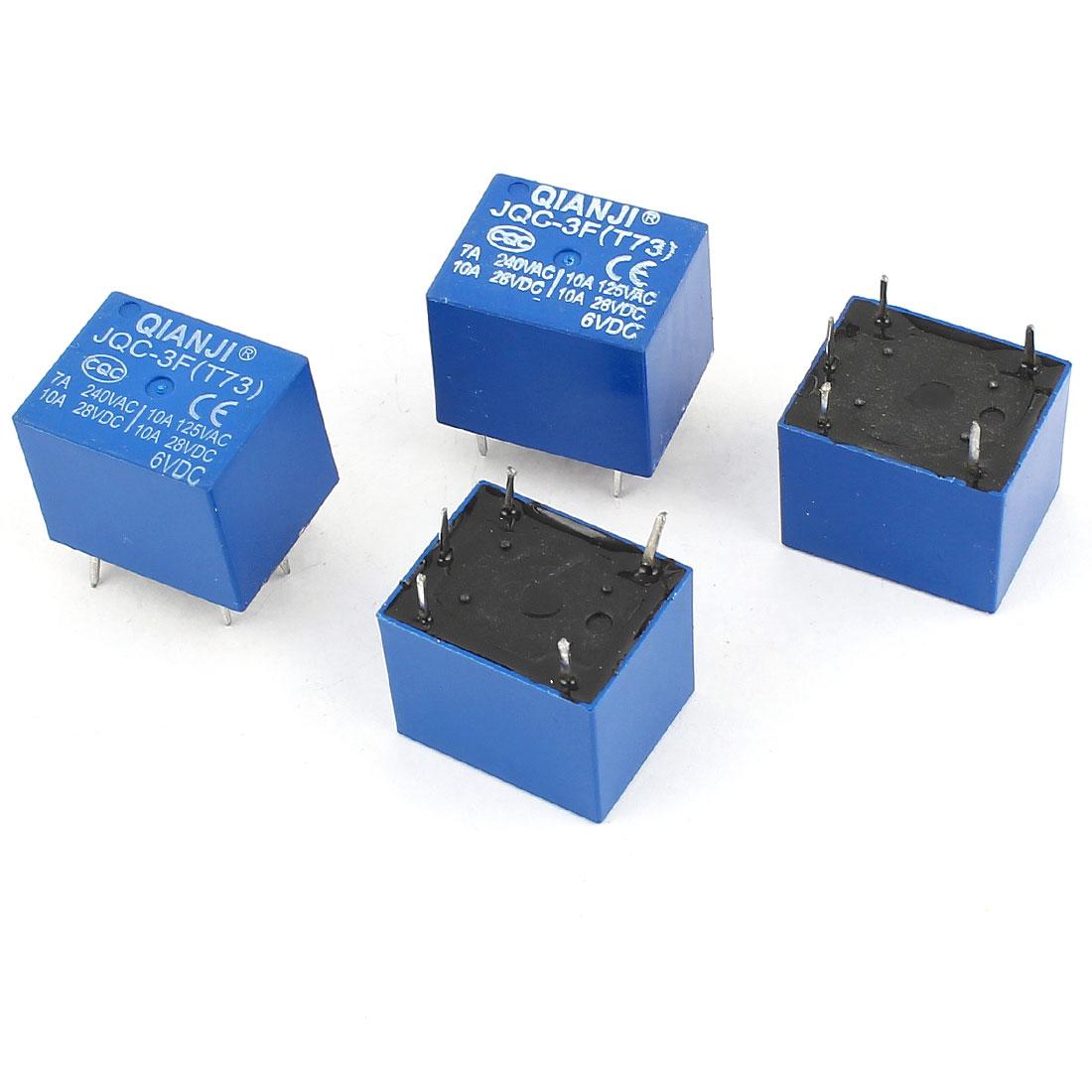 4 Pcs JQC-3F(T73) 5Pin SPST Power Relay DC 6V Coil 28V AC 125V 240V Load