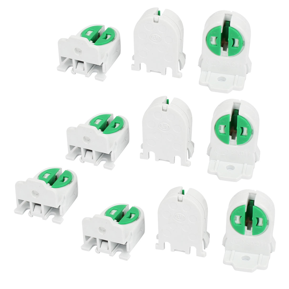 "10 Pcs 0.1"" Hole Dia T5 T4 Tube Light Fluorescent Lamp Holder Socket White Green"