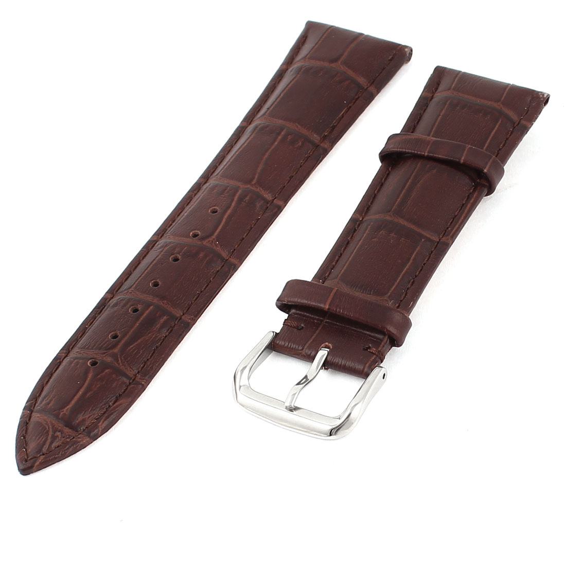 Faux Leather Adjustable Watch Band Belt Bracelet Strap Brown 24mm Width