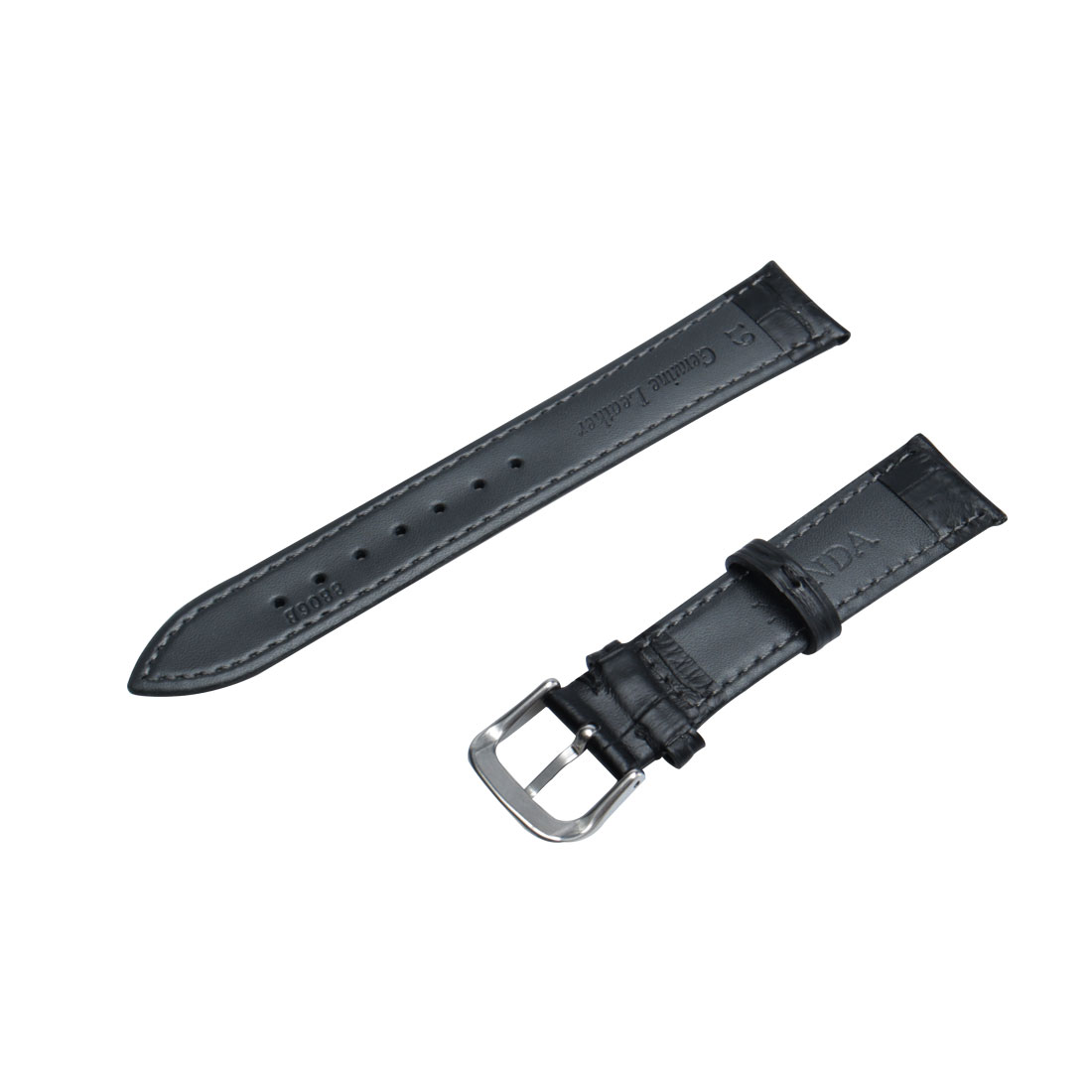 Faux Leather Adjustable Watch Band Belt Bracelet Strap 19mm Width Black