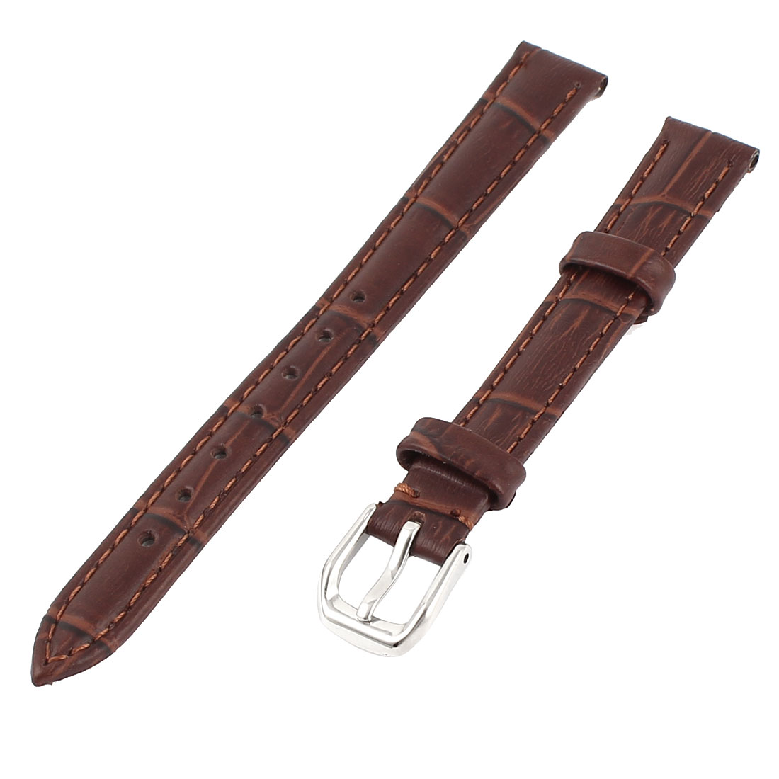 Faux Leather Adjustable Watch Band Belt Bracelet Strap 12mm Width Brown