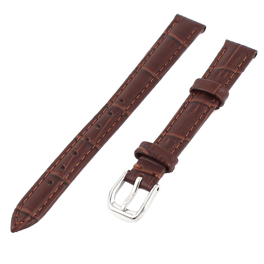 Faux Leather Adjustable Watch Band Belt Bracelet Strap 12mm Width Brown