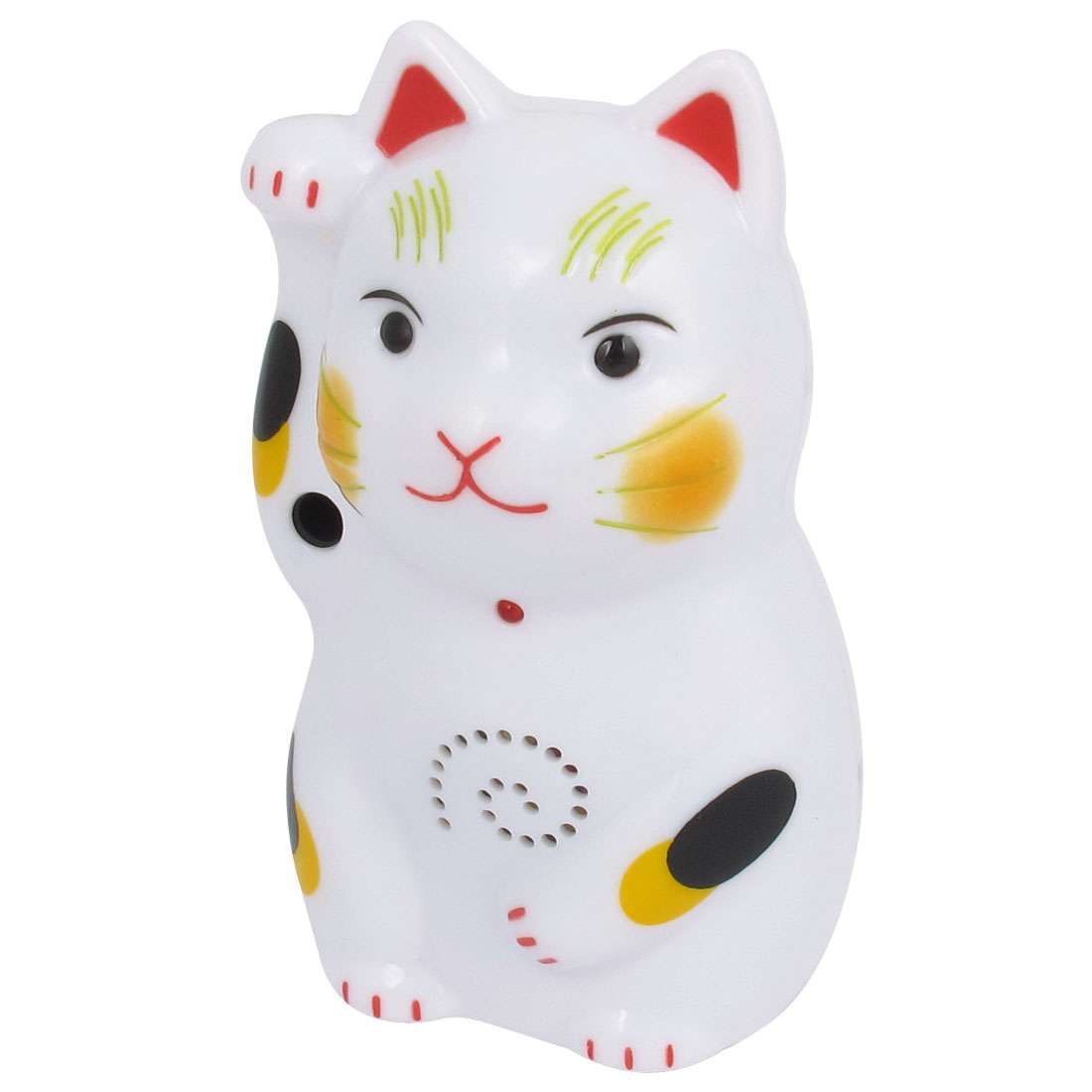 White Plastic Voiced Maneki Neko Lucky Cat Ornament