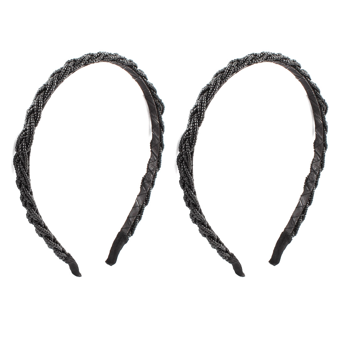 2 Pcs Black Plastic Beads Detail Metal Hair Band Headbands for Ladies