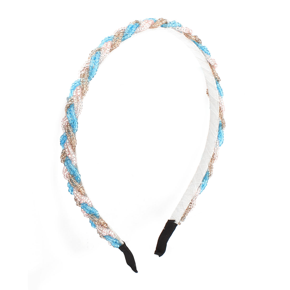 Blue Pink Brown Plastic Beads Detail Metal Hair Band for Girls