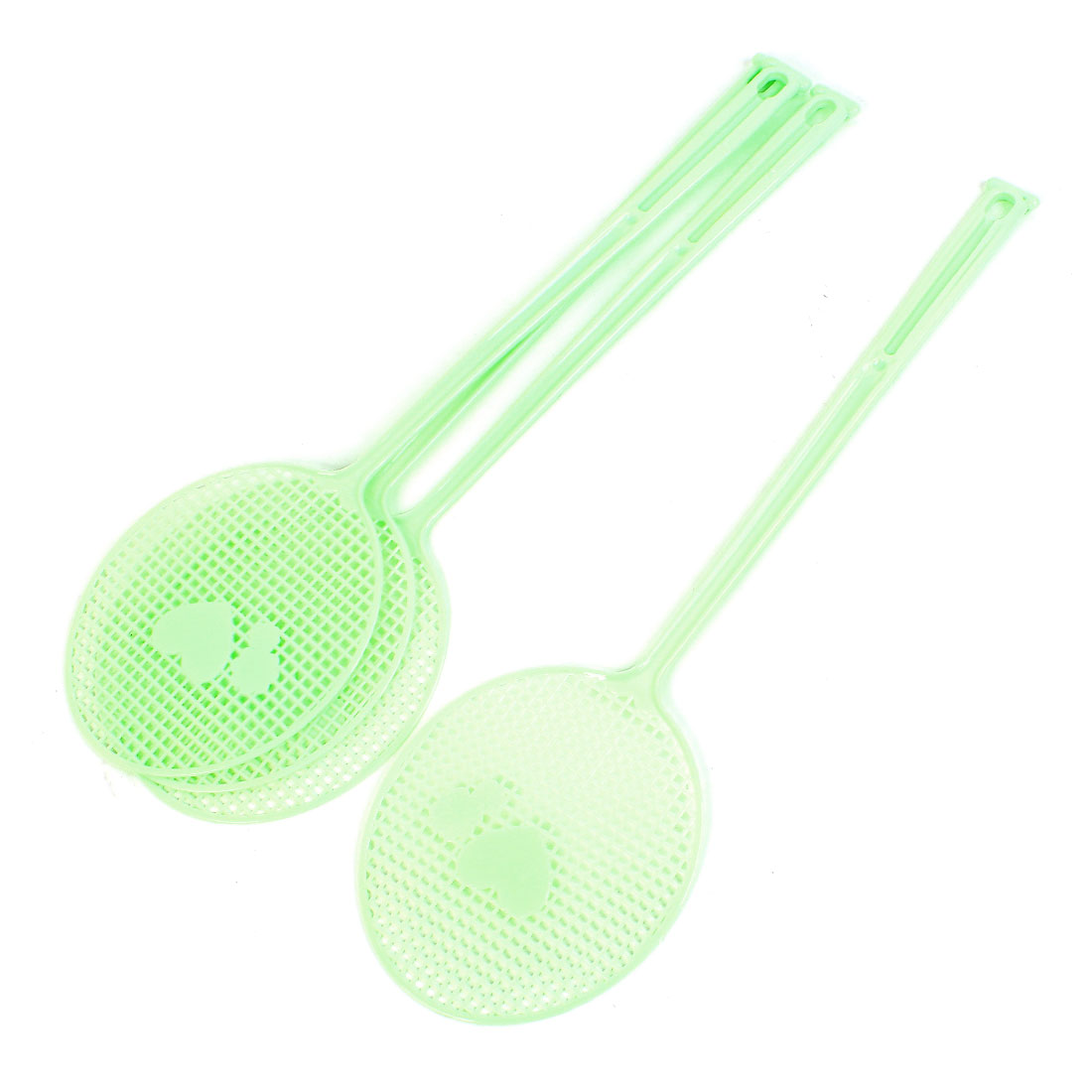 4 Pcs Light Green Plastic Heart Flower Pattern Mosquito Fly Swatter