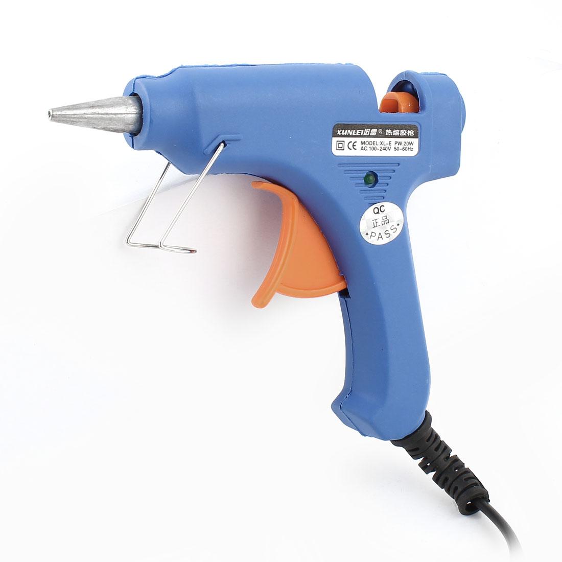 AC 100-240V US Plug 20W Blue Plastic Hand Tool Hot Melt Glue Gun