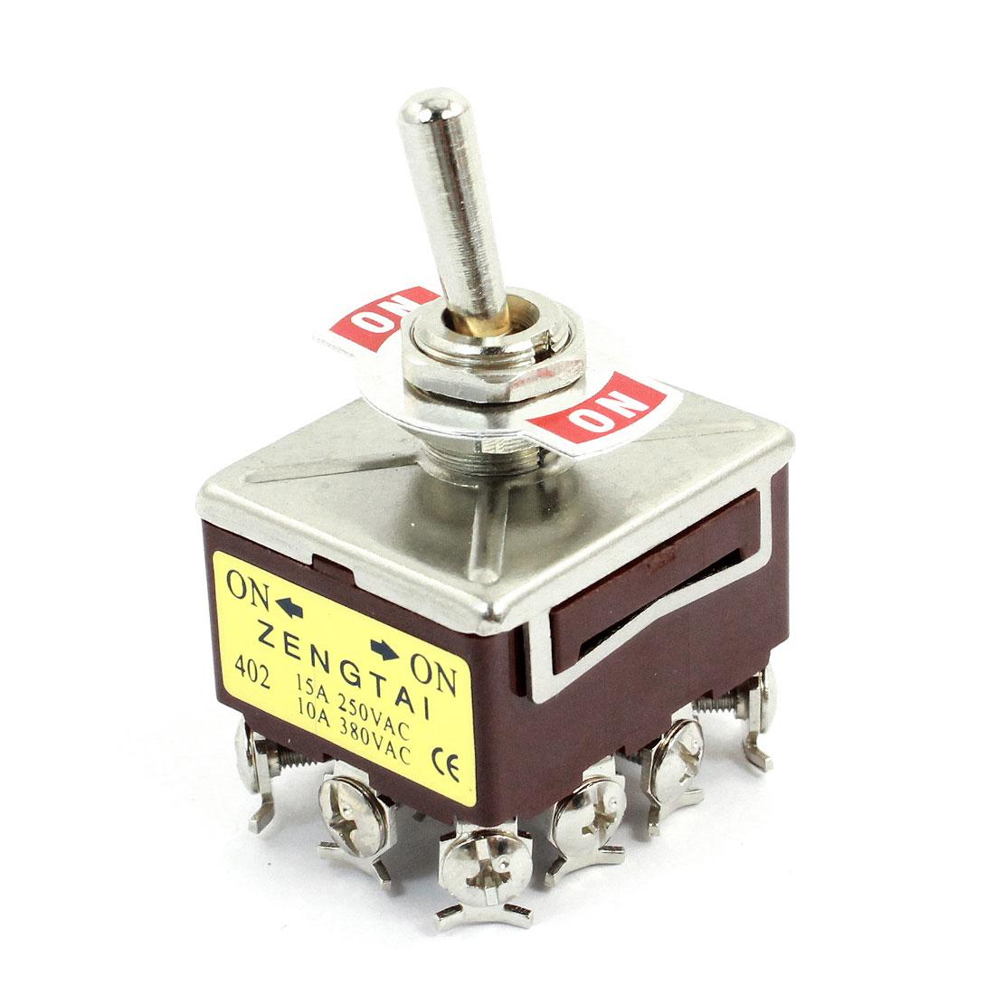 AC380V/10A AC250V/15A 12 Pin 3PDT ON/ON 2 Position Toggle Switch