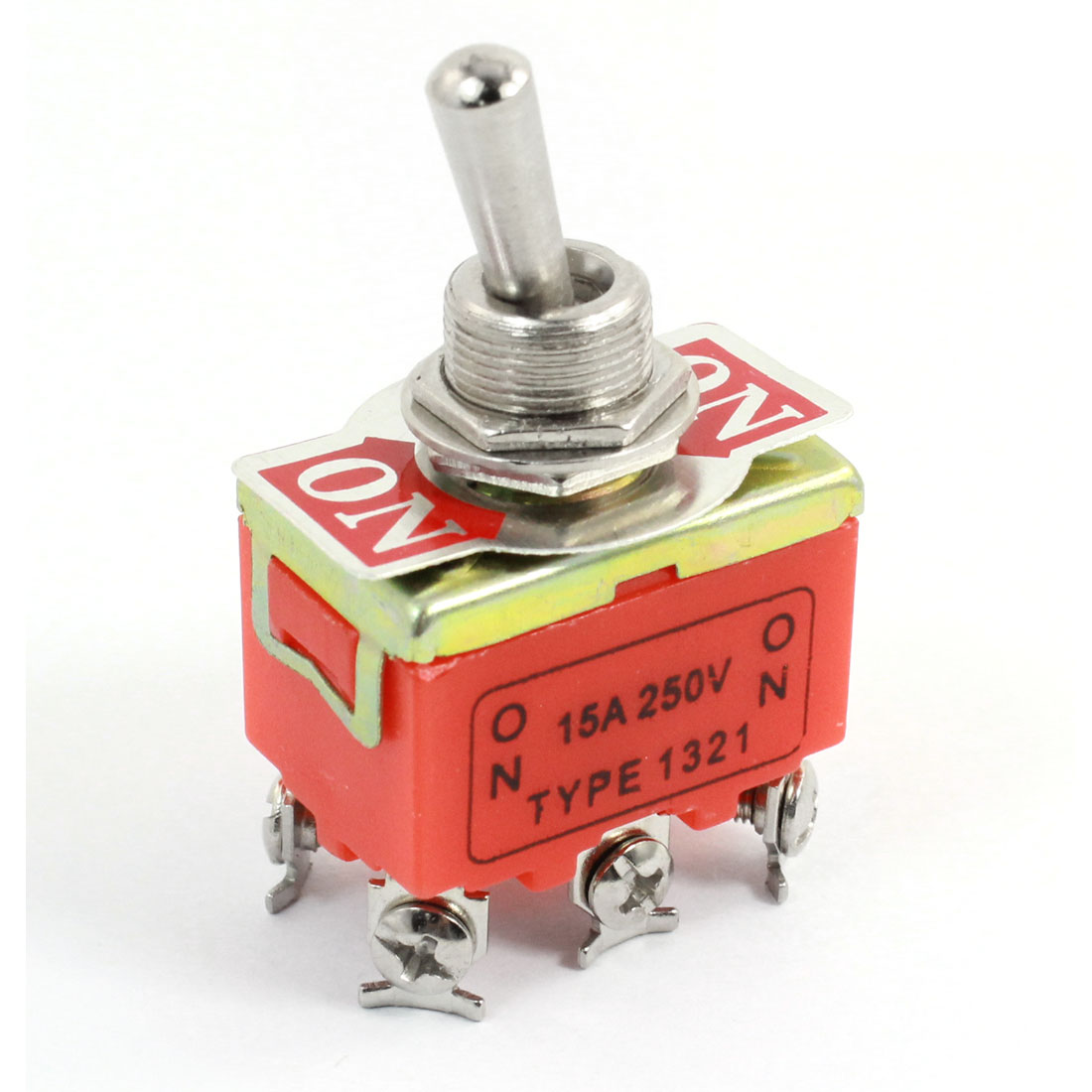 ON-ON 2-Position DPDT Self-Locking 6 Terminals Toggle Switch AC 250V 15A
