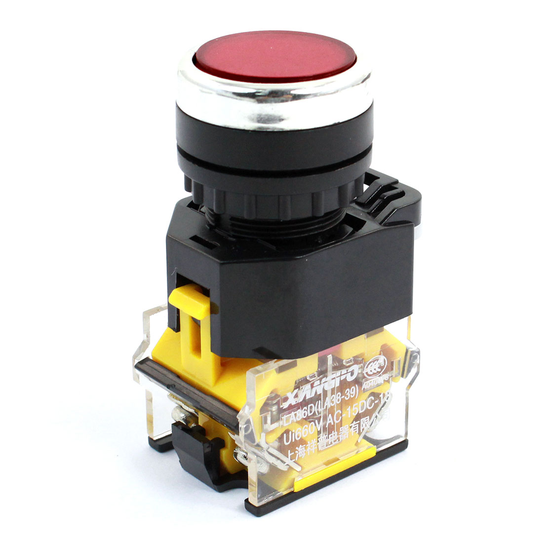 Ui 660V 21mm Thread Panel Mounting DPST 1NO 1NC 4 Screw Terminal Momentary Action Plastic Push Button Switch