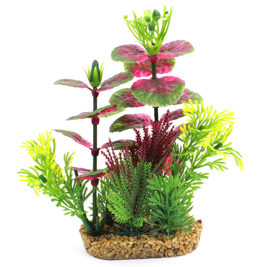 "Aquarium Emulational Flower Accent Aquatic Pot Plant Green Fuchsia 7.1"" Height"