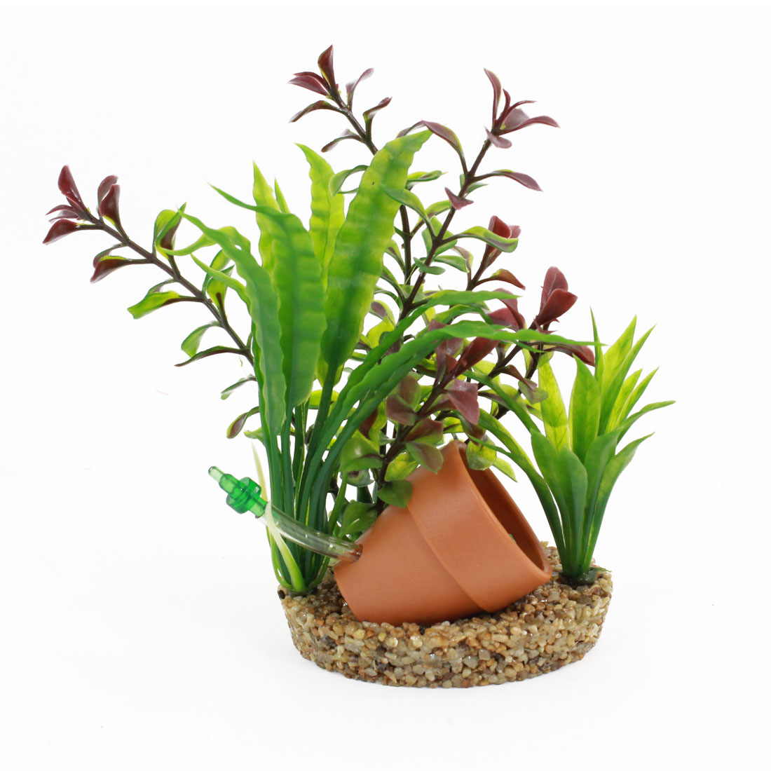 "Fish Bowl Decor Simulation Orange Pot Detailing Green Water Plant 6.7"" Height"