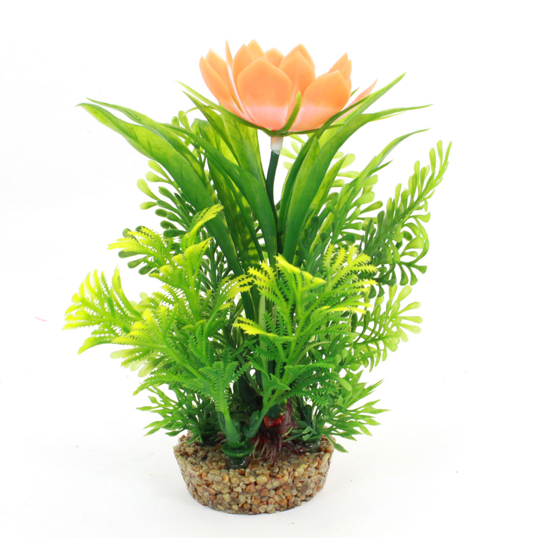 Fish Tank Manmade Orange Flower Detail Underwater Pot Plant Green 17cm Height