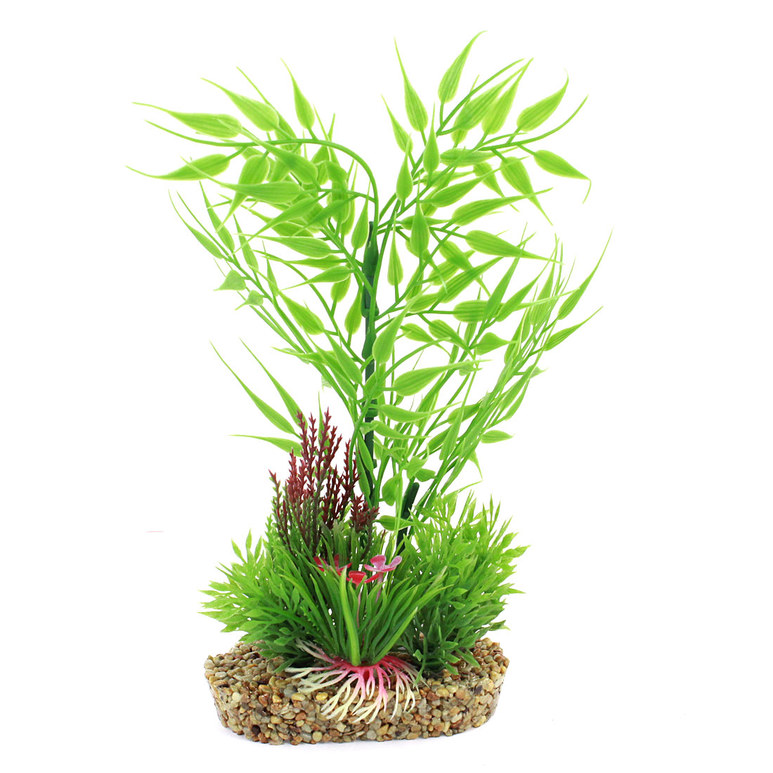 "Aquarium Decoration Simulation Fuchsia Flower Detail Pot Plant Green 8.7"" High"