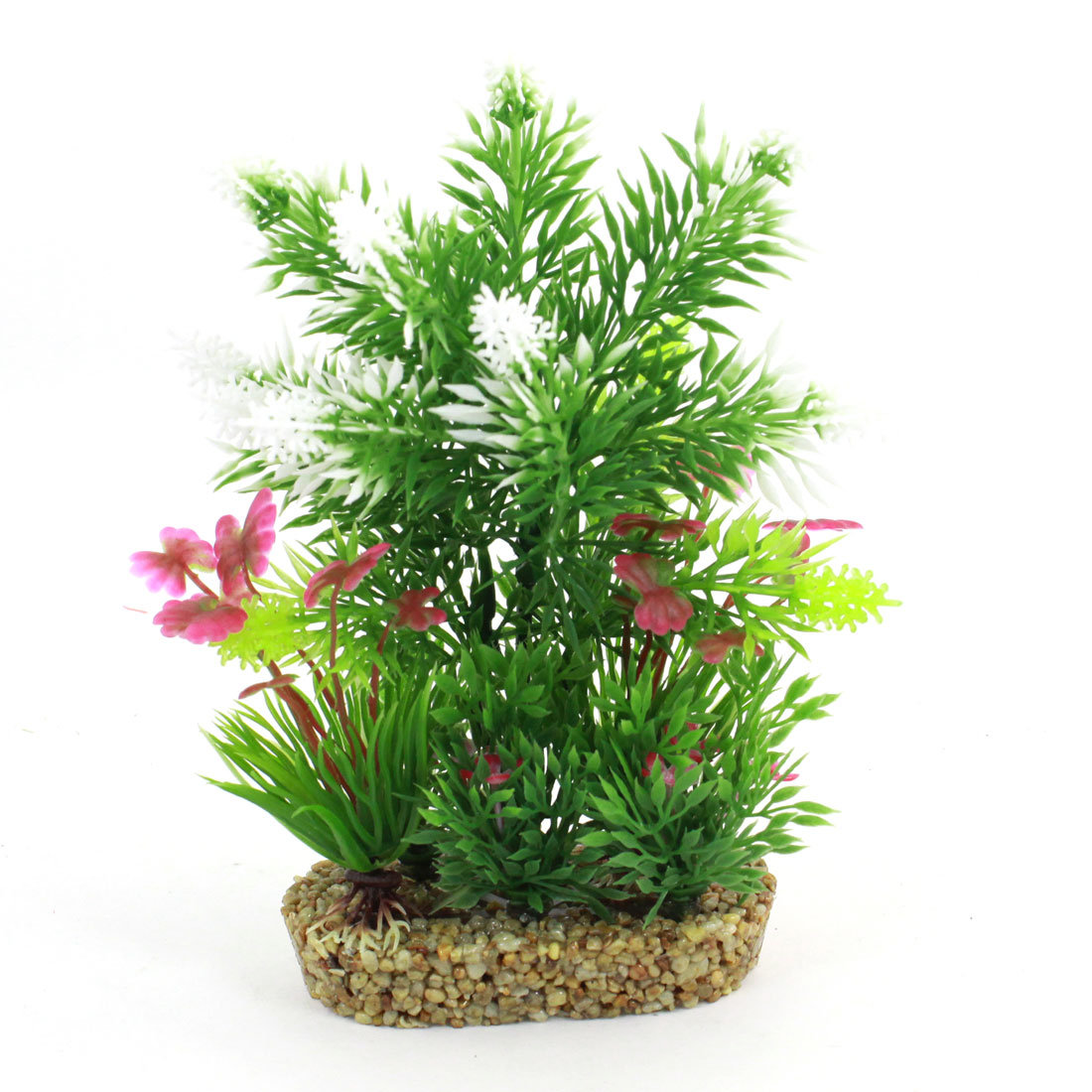 "Fish Tank Artificial Fuchsia Flower Detail Water Pot Plants Green 7.1"" High"