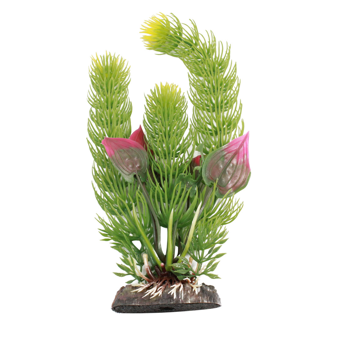 "Fish Tank Artificial Fuchsia Leaves Aquatic Grass Decor Green 8.5"" Height"