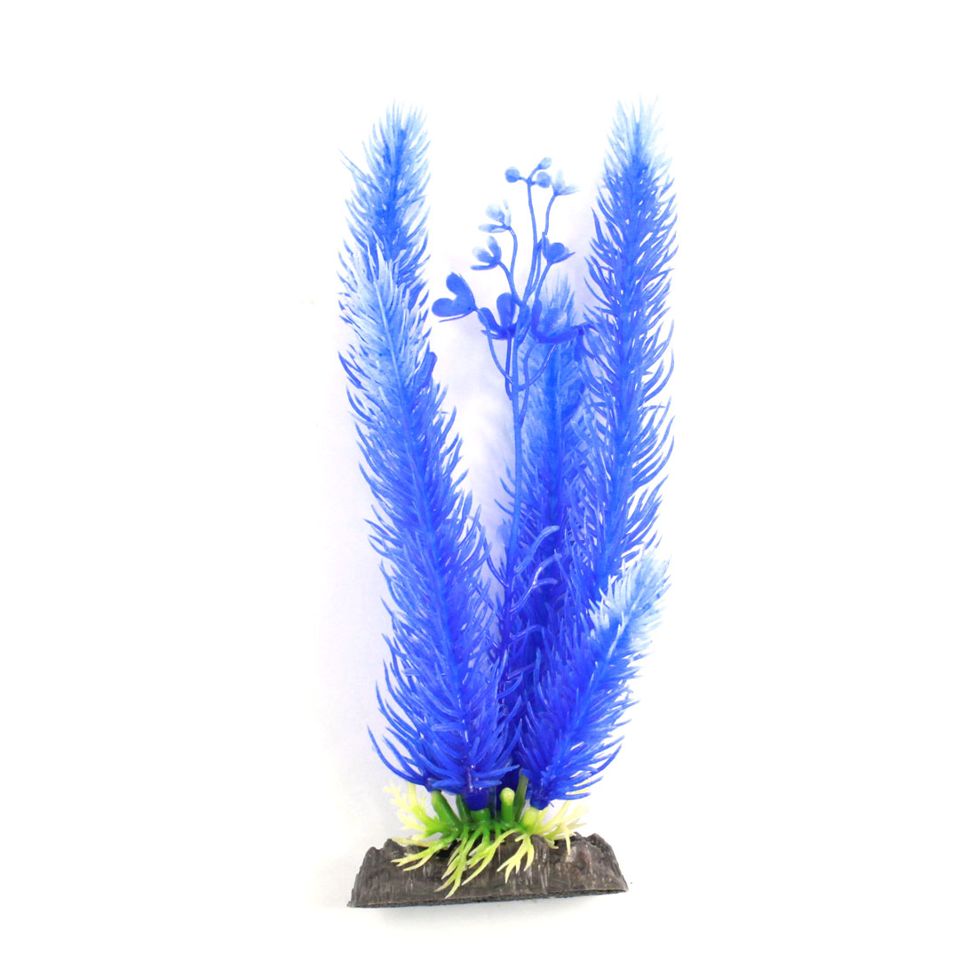 "Aquarium Manmade Flower Detailing Glow Water Aquatic Plant Grass Blue 7.9"" Height"